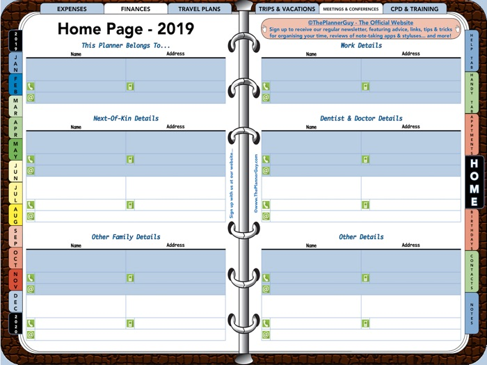 The Planner Guy - 2019 Interactive Digital Planner / Diary (Week to Page)