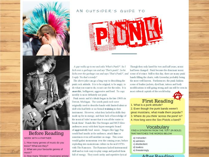 The Birth of Punk! - Reading with worksheet for ESL/ELL/English use