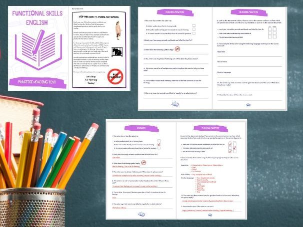 ENGLISH FUNCTIONAL SKILLS READING COMPREHENSION 6 PAGE L1 & L2 TASK BOOKLET/ PRACTICE EXAM & ANSWERS
