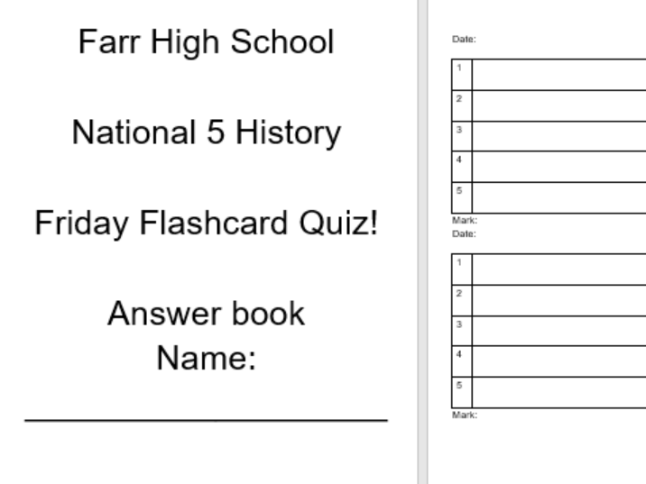 Flash cards for National 5 History