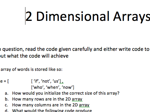 [GCSE+IGCSE] 2D Arrays introductory Task
