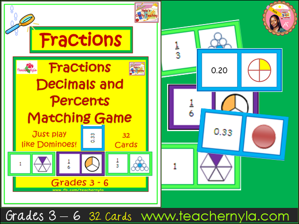 Fractions, Decimals and Percents - Matching Dominoes Card Game