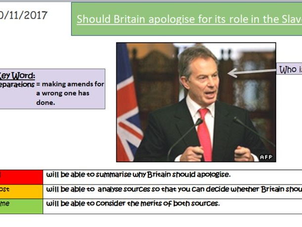 Should Britain apologise for its role in the Slave Trade? Key Stage 3 History / Slavery