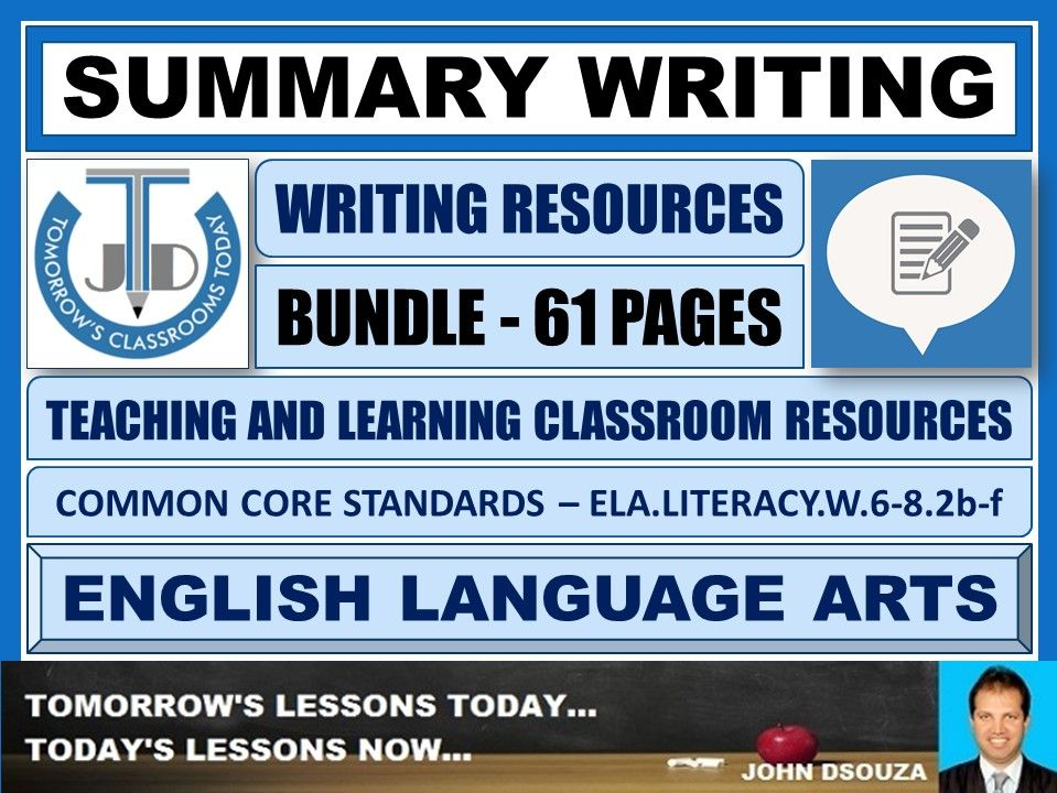 SUMMARY WRITING - CLASSROOM RESOURCES - BUNDLE
