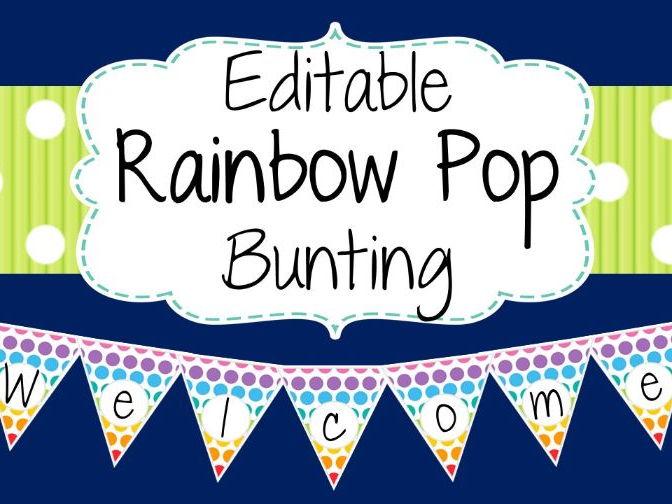 Editable Bunting - Rainbow Pop Design