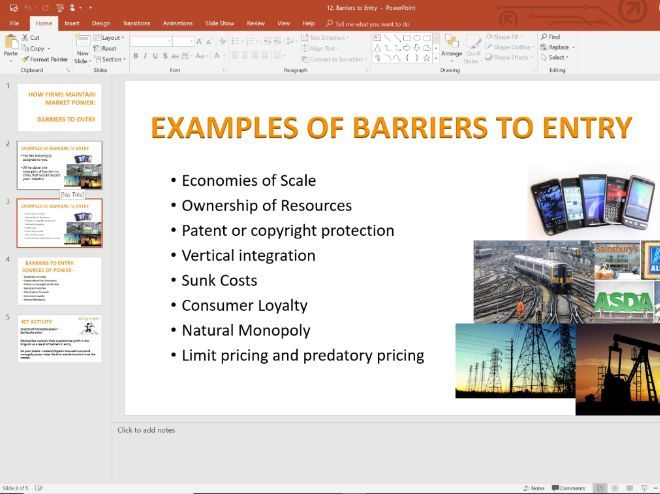 12. Barriers to Entry (Slides, Activities and Notes) - Edexcel A-Level Economics - Theme 3