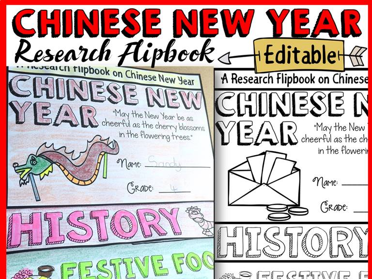 CHINESE NEW YEAR RESEARCH FLIPBOOK INFORMATION REPORT TEMPLATES