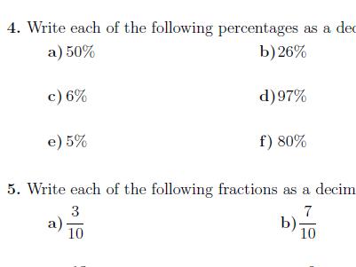 Percentages, fractions, decimals and ratios.