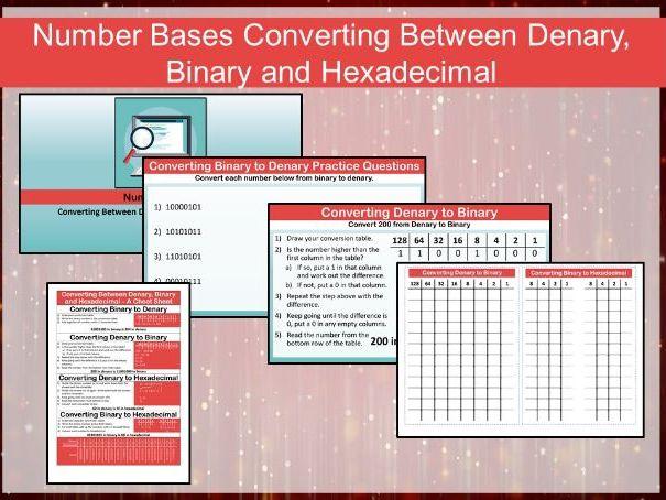Number Bases - Converting Denary, Binary and Hexadecimal Pack