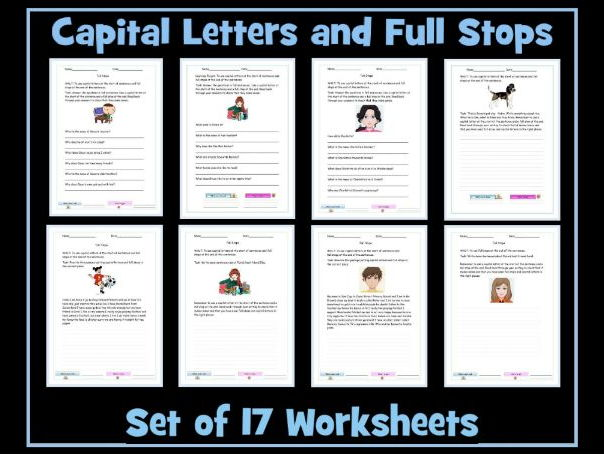 My Family Worksheets For Kindergarten Excel Full Stops And Capital Letters  Set Of  Worksheets By Krazikas  Letter People Worksheets with Childcare Worksheets Pdf Full Stops And Capital Letters  Set Of  Worksheets By Krazikas   Teaching Resources  Tes Objective Pronoun Worksheet