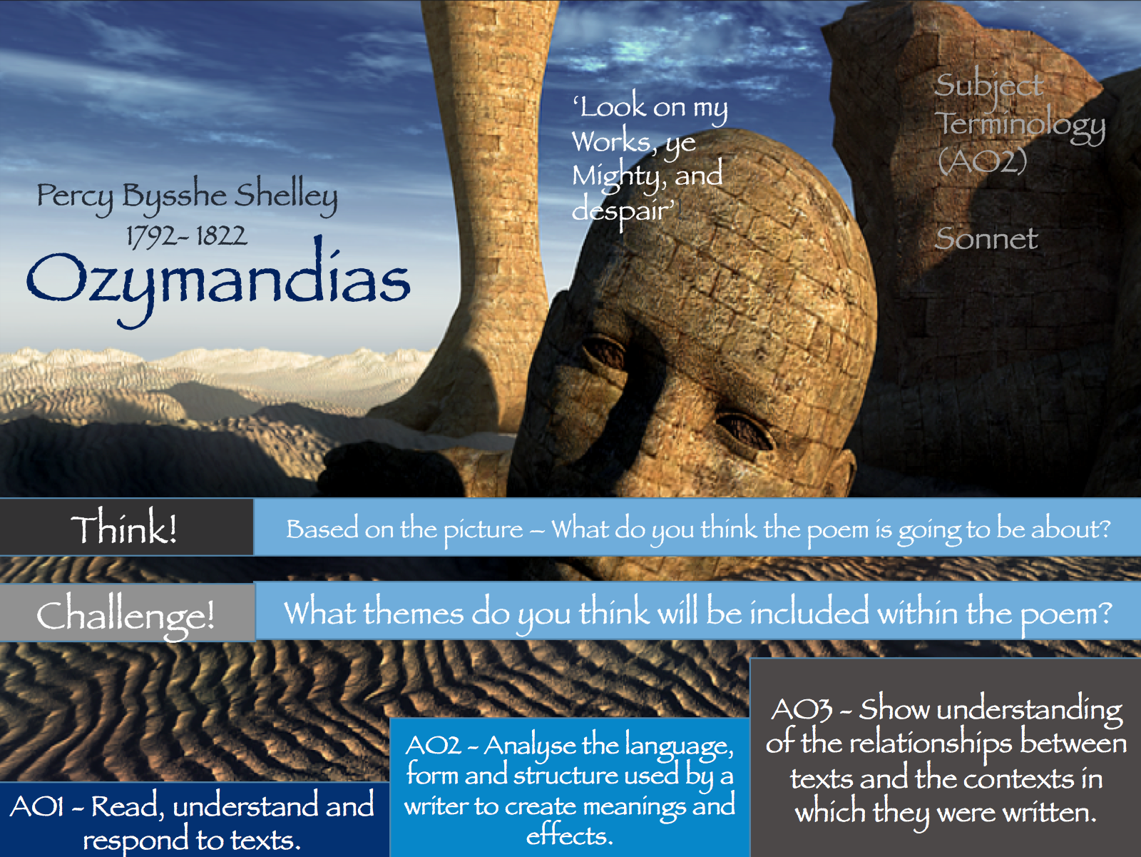 AQA Poetry - Storm on the Island/ Ozymandias/ The Prelude - Power and Conflict