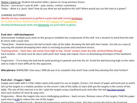 KS3 Table tennis scheme of work (10 lessons)