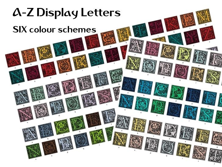 A - Z letters in six colour schemes for display - 156 files - floral design