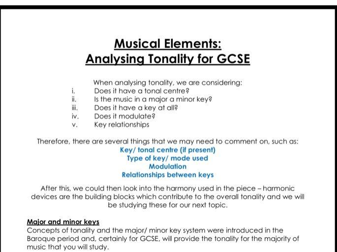 Analysing tonality for GCSE music