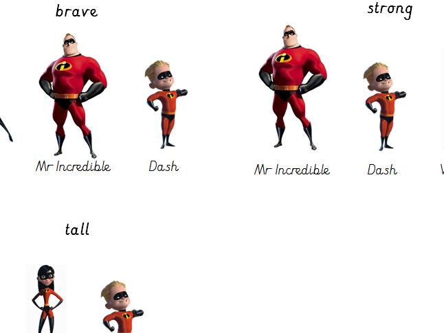 Superhero writing - er and est suffix