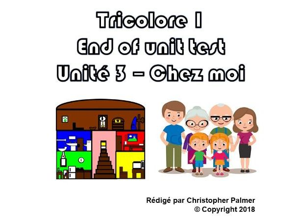 French: Tricolore 1 (5th edition) - Unit 3 end of unit test paper