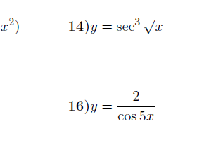 Derivatives of trigonometric functions worksheets (with solutions)
