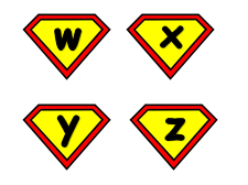 Phase 2 and 3 Sounds on Super Hero Badges and Phase 2 & 3 Tricky words on Super Hero Capes