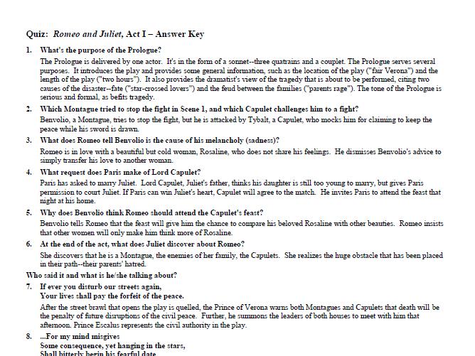 Romeo and Juliet Quiz Set & Answer Key