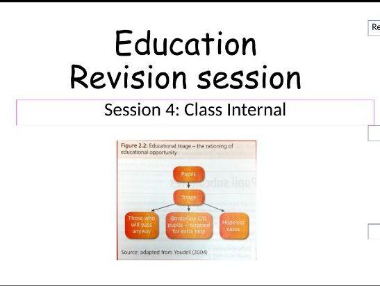 Class Internal education revision AS AQA SOCIOLOGY