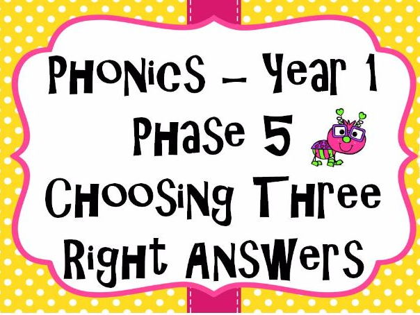Year 1 Phonics Phase 5 Choosing three right answers game