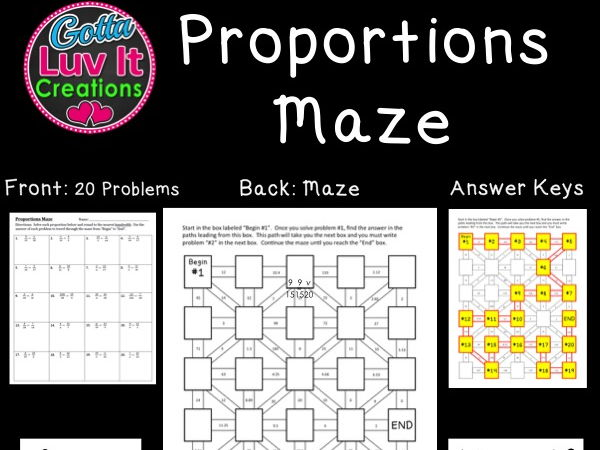 Proportions 2 Mazes By Gottaluvitcreations Teaching Resources Tes