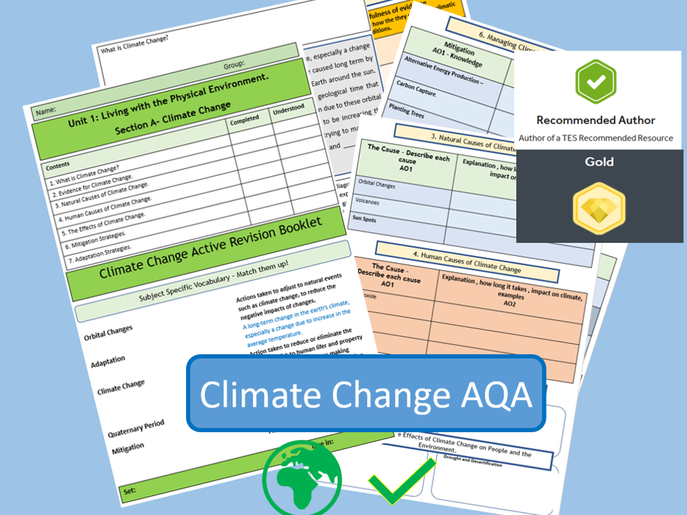 GCSE AQA 9-1 Climate Change - Active Revision Booklet , causes, evidence, effects, management.