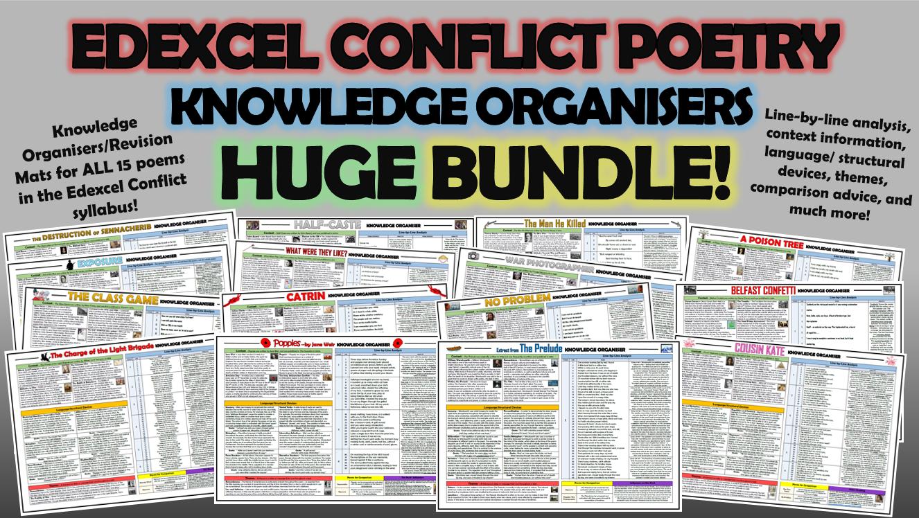 Edexcel Conflict Poetry Knowledge Organisers Huge Bundle!
