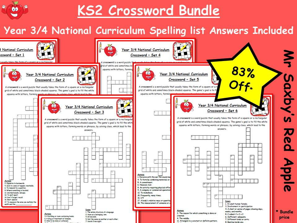 KS2 Crossword Pack - 6 Crosswords, with answers. Words from the 2014 National Curriculum