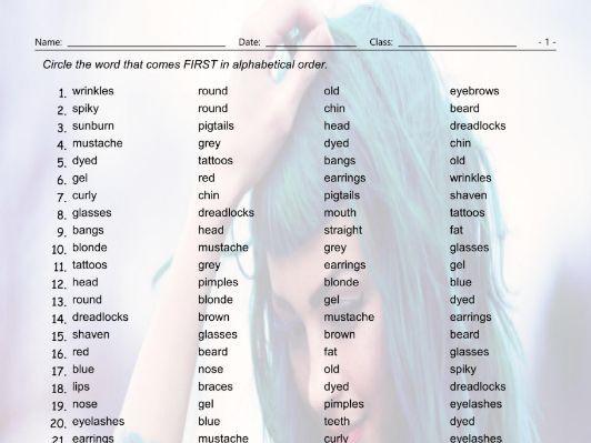 People Descriptions Alphabetical Order Worksheet
