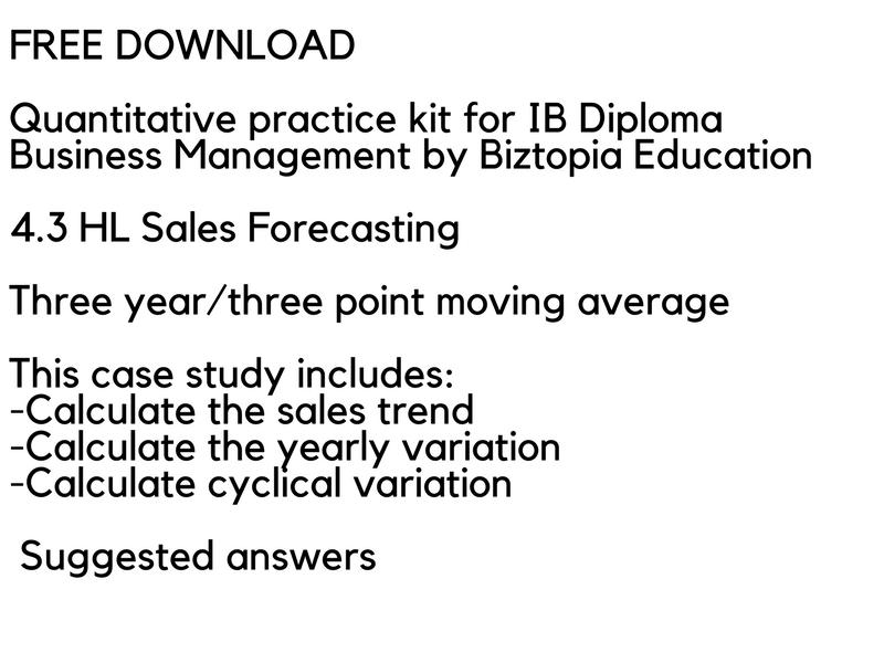 IB Business Management - 4.3 HL Sales Forecasting- 3 year moving average
