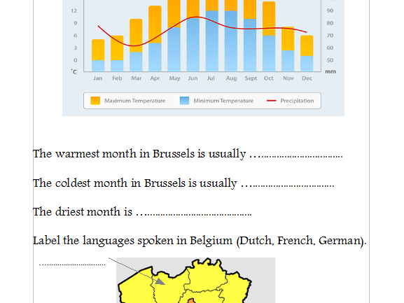 Geography of Belgium Lesson (powerpoint and worksheet)