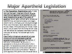 Major Apartheid Legislation