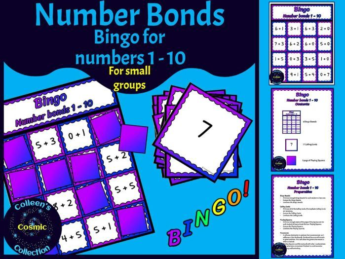 Number Bonds Bingo for numbers 1-10 for SMALL GROUPS in COLOUR