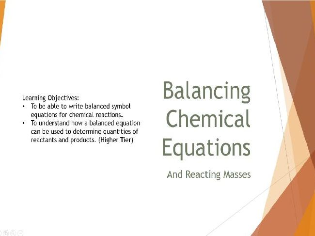 Balancing Chemical Equations and Reacting Masses Lesson