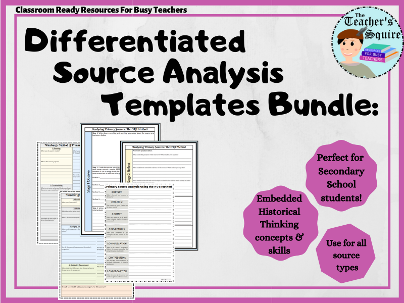 Differentiated Source Analysis Template Bundle