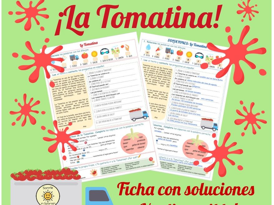 La Tomatina worksheet. Identity and culture. Spanish festivals. Answers included