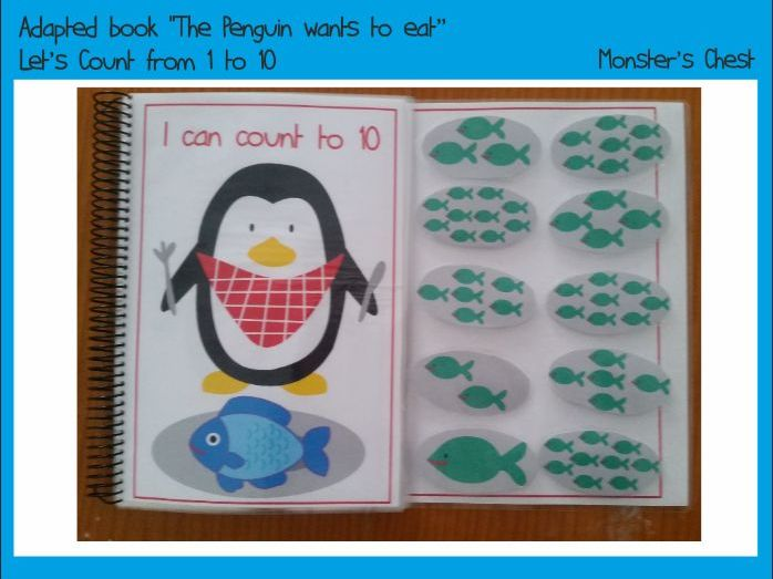 "Basic Maths Adapted Book ""The Penguin wants to eat"""