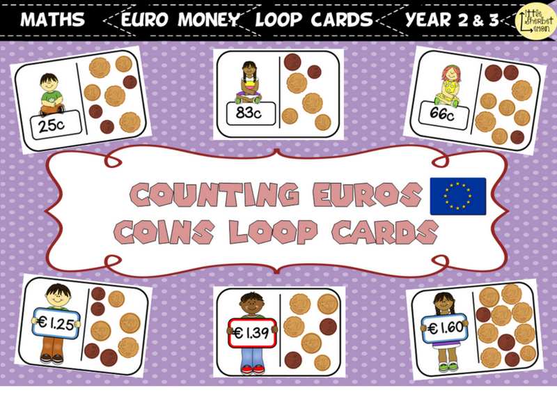 Counting Coins Loop Cards EURO-ZONE COINS VERSION