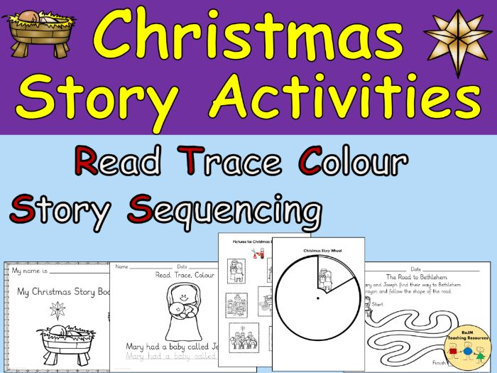 Christmas Story Activities Worksheets  Story Wheel Sequencing Word Searches