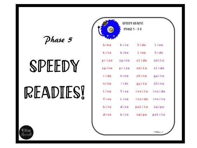 Phonics - Phase 5 - Speedy Readies - Fluency Practice