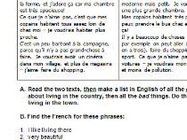 French reading worksheet about local area
