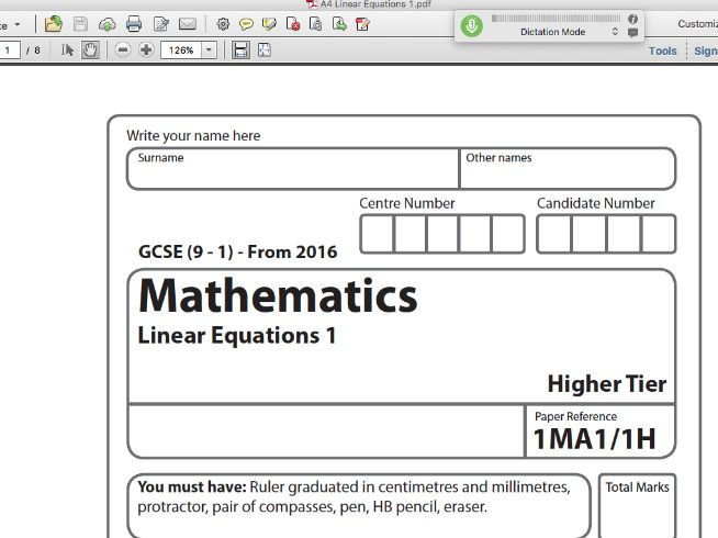GCSE Maths Linear Equations Exam Style Paper