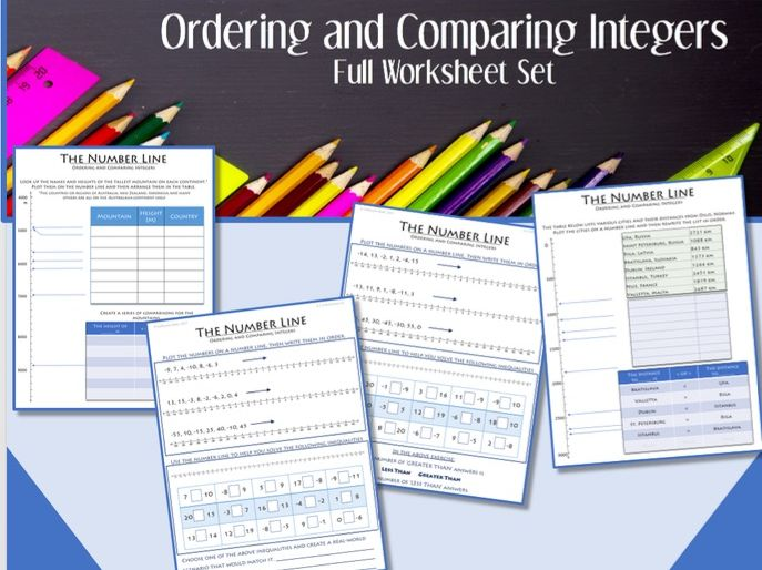 The Number Line (Part 2):  Ordering and Comparing Integers --- FULL worksheet set
