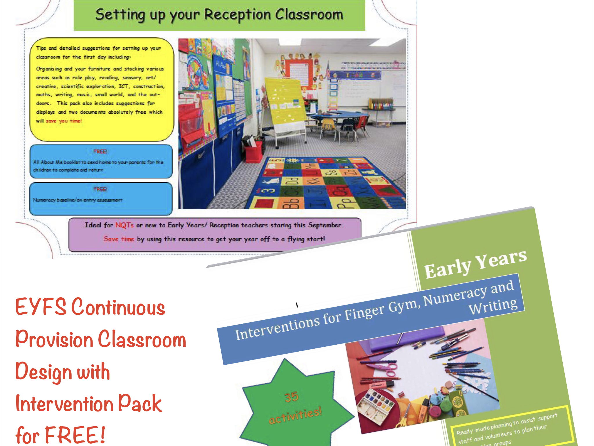 EYFS : Continuous Provision Classroom Design with Intervention Pack FREE!