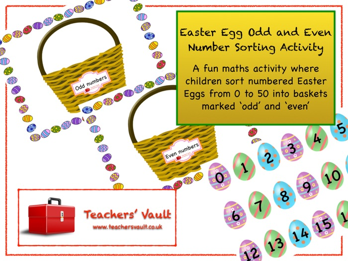 Easter Egg Odd and Even Number Sorting Activity