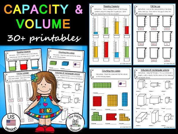 Capacity and Volume (US version) – 30+ printables