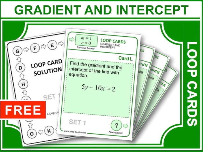 Gradient and Intercept of a Straight Line (Loop Cards)