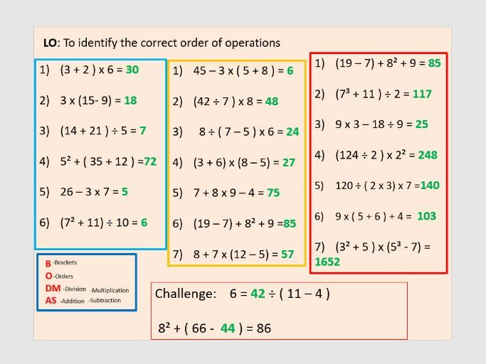 Bodmas (3 entire lessons) : order of operations Year 6