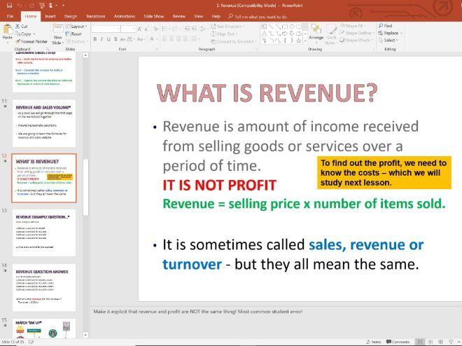2. Revenue - Topic 1.3 - Edexcel GCSE Business - Theme 1